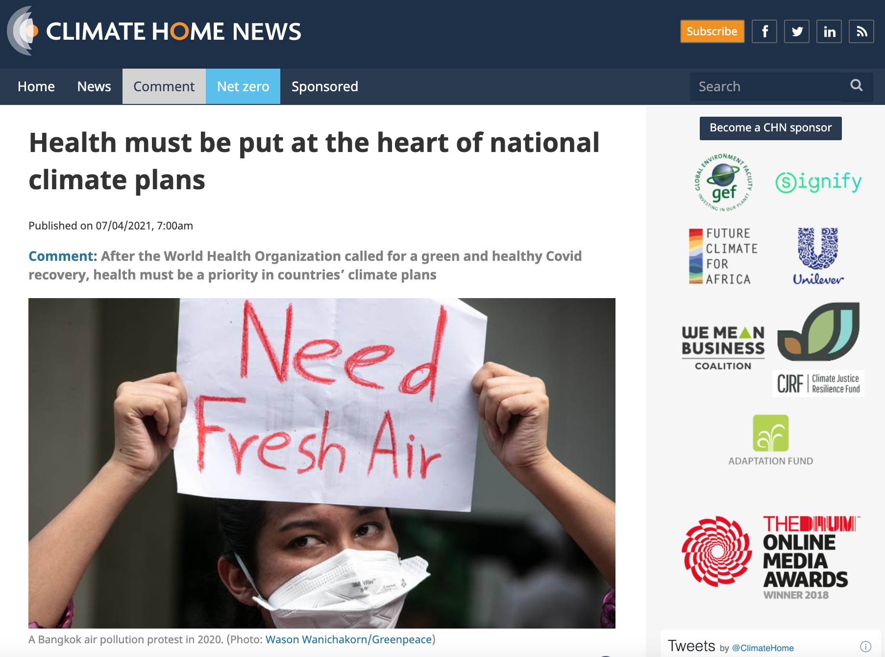 Health must be put at the heart of national climate plans