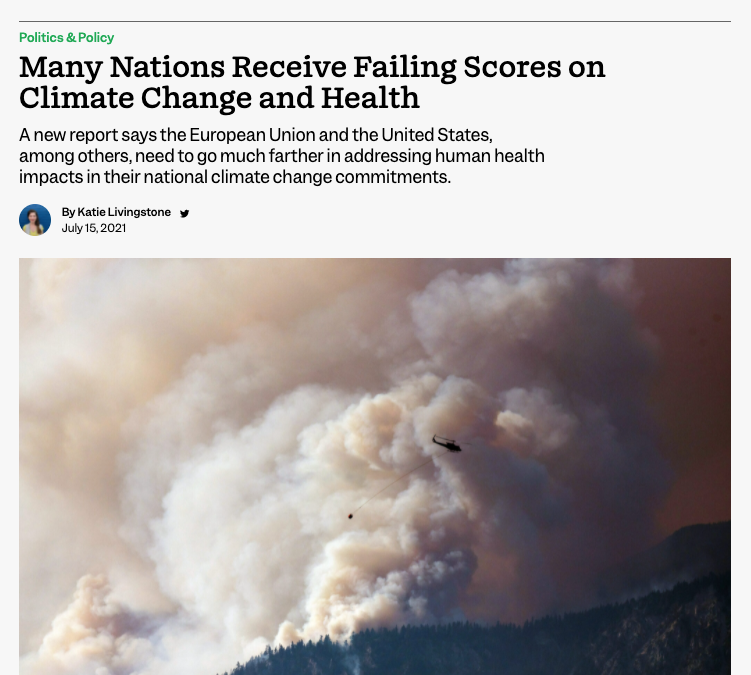 Inside Climate: Many Nations Receive Failing Scores on Climate Change and Health