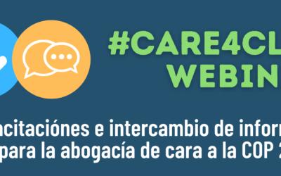 #Care4Climate webinars: Capacitaciones e intercambio de información para la abogacía de cara a la COP 26